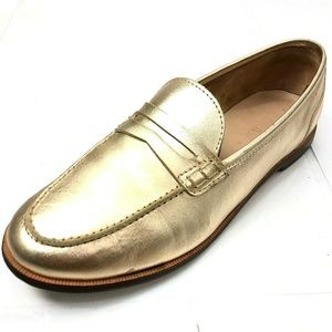J. CREW Ryan 6.5 Penny Loafer Gold Leather